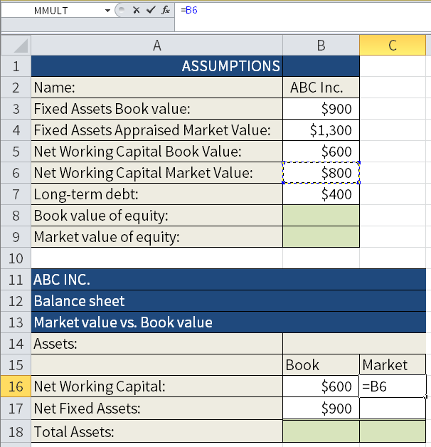 Screenshot of Microsoft Excel where we are calculating the Book value and the Market value of different assets. Here we are adding the Market value of the Net Working Capital to cell C16