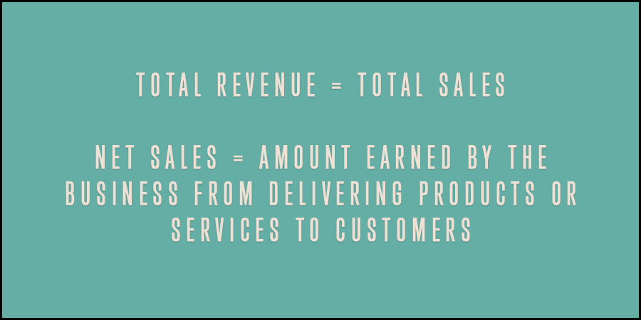 Picture showing Total revenue, Total sales and Net sales.