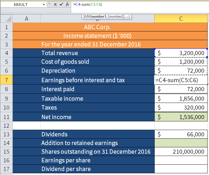 Screenshot of Microsoft Excel showing how to calculate Earnings before interest and tax by subtracting the sum of C5 (Cost of goods sold (COGS)) and C6 (Depreciation) from C4 (Total revenue).