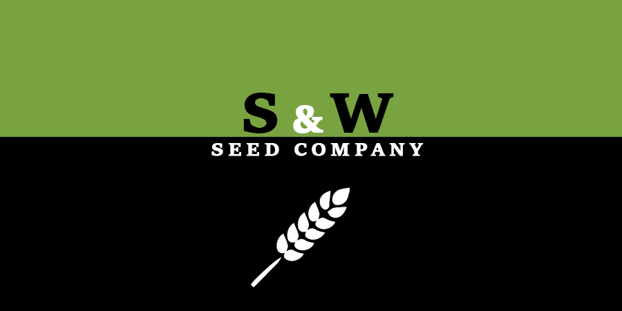 Black and green picture of grain icon with text about S & W Seed Company.