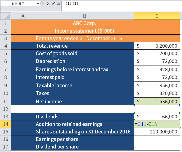 Screenshot of Microsoft Excel showing how to calculate Retained earnings (cell C14) by subtracting Dividends (cell C13) from Net income (cell C11).