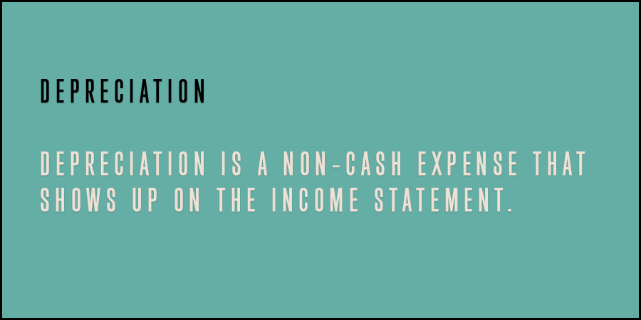 Green picture with text Depreciation is a non-cash expense that shows up on the income statement