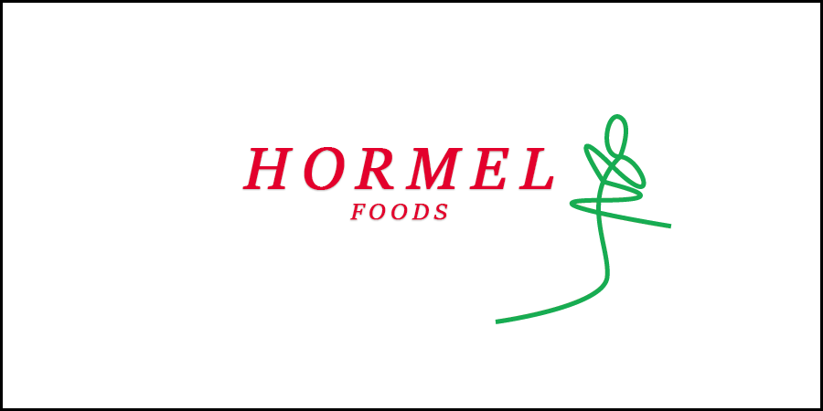 White picture with green grain icon with text about Hormel Foods