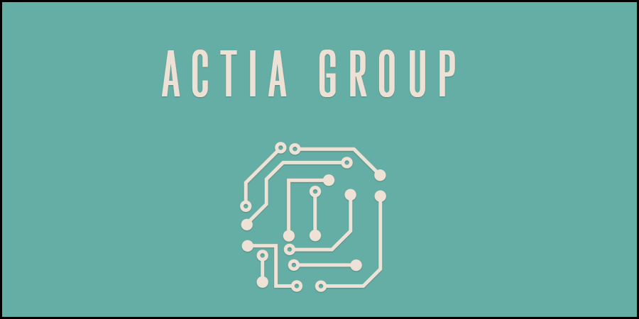 Green picture of electronic circuit and with text about Actia Group