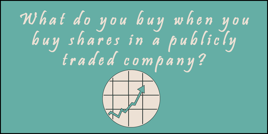 Green picture of rising stock index with text about buying shares