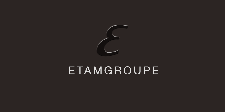 Brown picture of styleized E with text about ETAMGROUPE