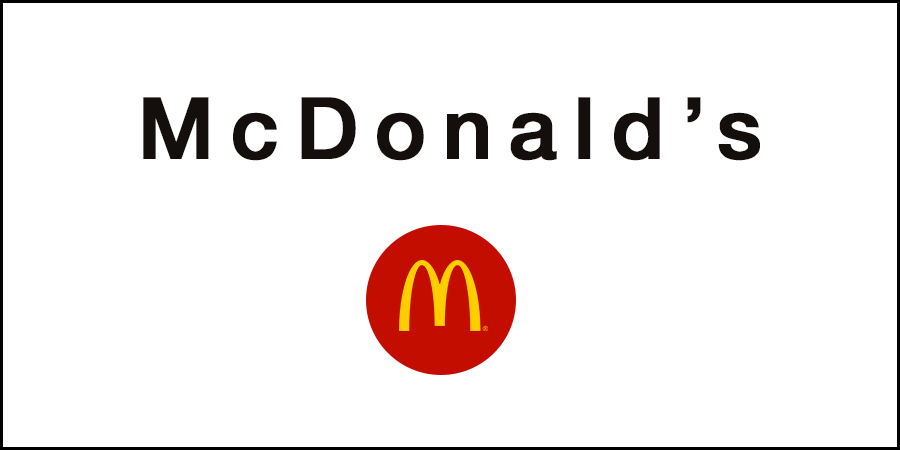 White picture of McDonald's logo with McDonald's text