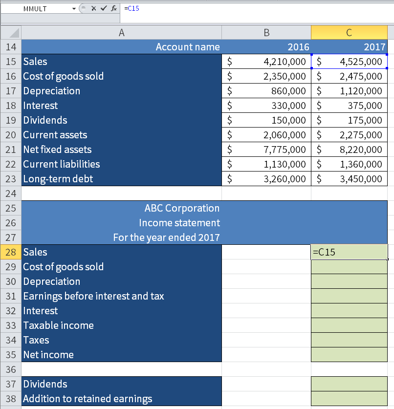 Screenshot of Microsoft Excel showing how we take the value for Sales and 2017 (C15) and put it in the income statement.