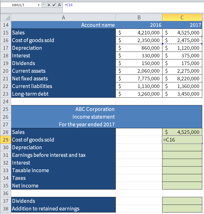 Screenshot of Microsoft Excel showing how we take the value for the Cost of goods sold and 2017 (C16) and put it in the income statement.