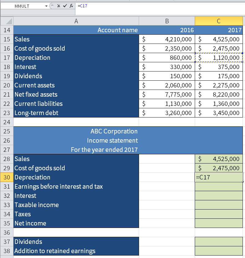 Screenshot of Microsoft Excel showing how we take the value for the Depreciation and 2017 (C17) and put it in the income statement below in the figure.