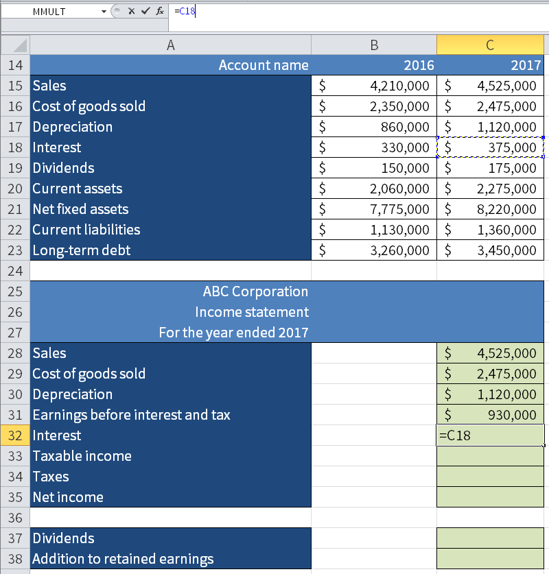Screenshot of Microsoft Excel showing how we take the value for the Interest and 2017 (C18) and put it in the income statement below in the figure.