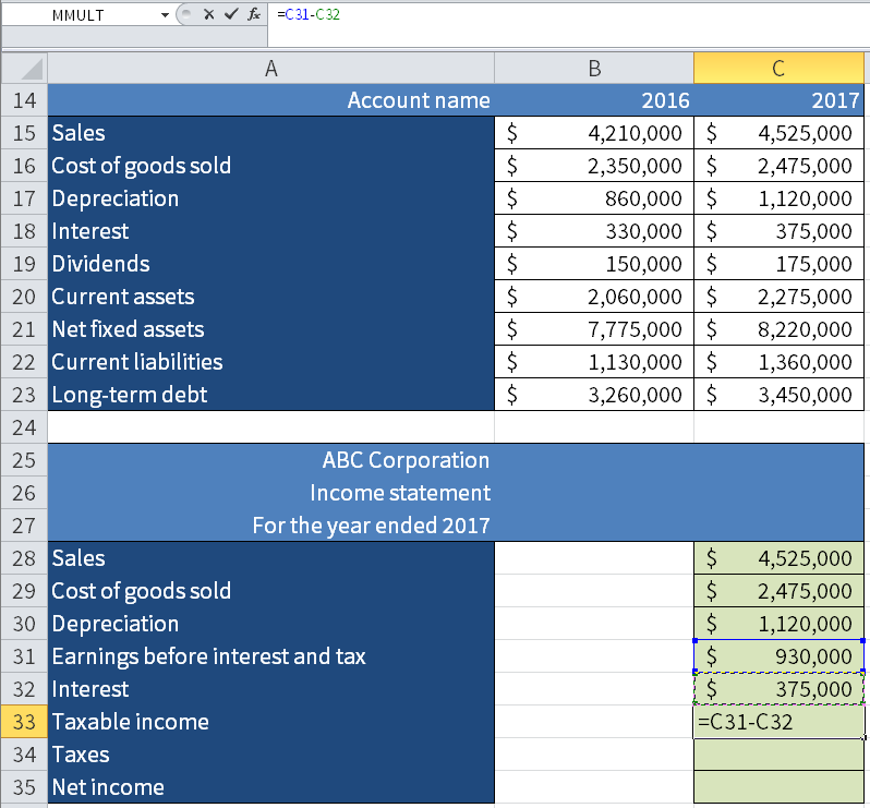 Screenshot of Microsoft Excel showing how to calculate the Taxable income by subtracting Interest from Earnings Before Interest and Tax (EBIT).