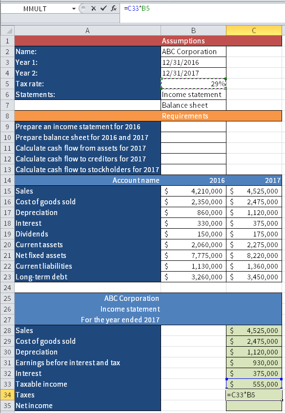Screenshot of Microsoft Excel showing how to calculate Taxes by multiplying the Taxable income (cell C34) with the Tax rate (cell B5).