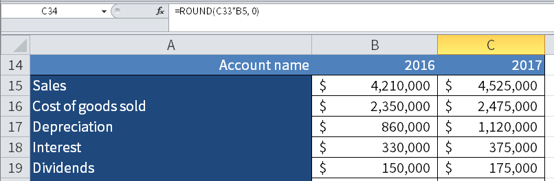 Screenshot of Microsoft Excel showing how to use the <i>round</i> function.
