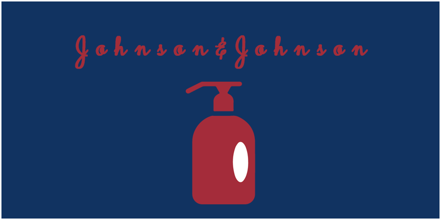 Blue picture with red soap bottle icon and text about Johnson & Johnson
