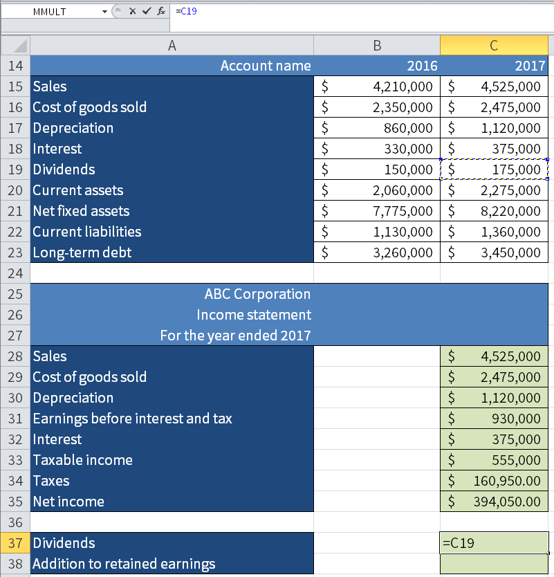 Screenshot of Microsoft Excel showing how to transfer Dividends from cell C19 to C37.